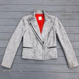 Gap Wool Tweed Asymmetrical Zip Moto Blazer XS